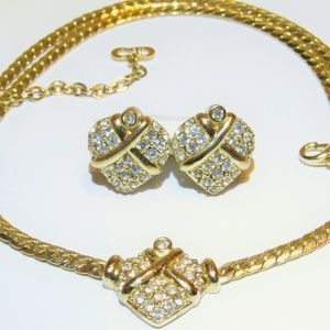 Vintage Dior Pave Bound Heart Necklace Earrings